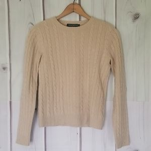Lauren Ralph Lauren Tan Cashmere Sweater Size SM